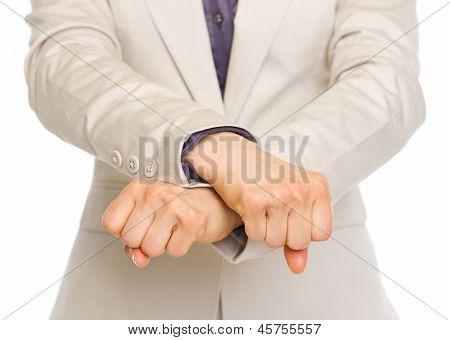 Closeup On Business Woman With Crossed Arms