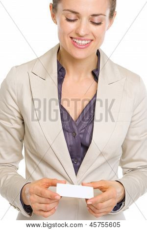 Happy Business Woman Holding Business Card