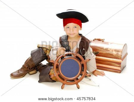 Boy dressed as pirate Jack Sparrow