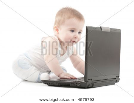 Surprised Baby Boy Express Working On Laptop