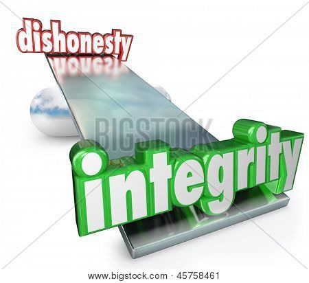 The words Integrity and Dishonesty on scale, balance or see-saw to illustrate the difference and comparison between corruption and trustworthiness