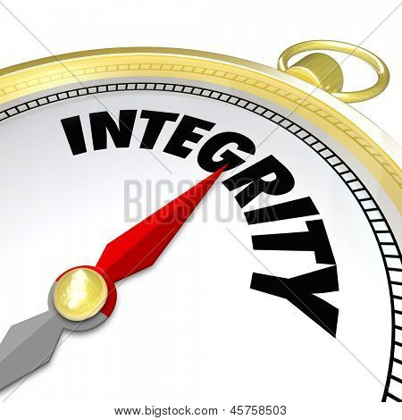 The word Integrity on a gold compass pointing the way to sincerity, honesty, truthfulness and a good reputation