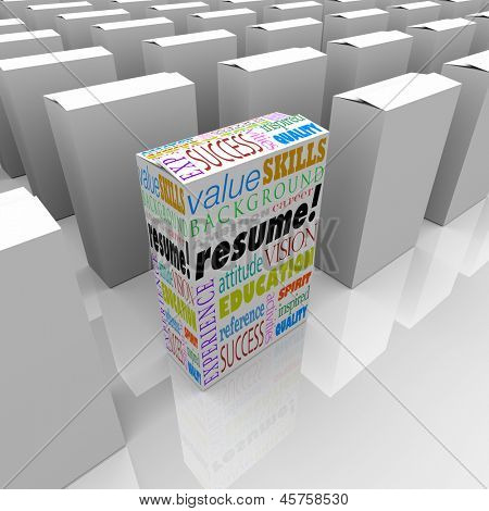 The word Resume and job or interview related terms such as skills, education, background, experience, ambition, career and reference to help you get hired for a position