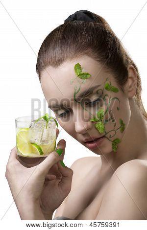 Sensual Girl With Mojito And Creative Make-up