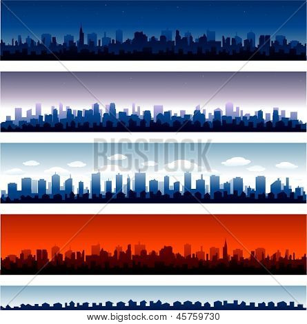 Set of vector cities silhouette time of day