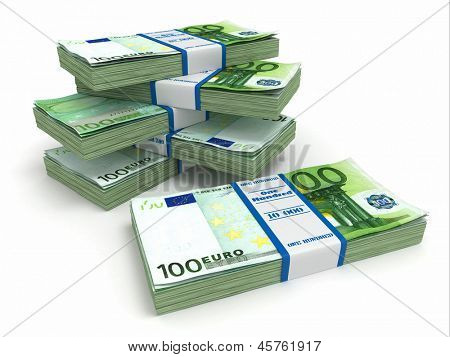Packs of euro on white background. 3d