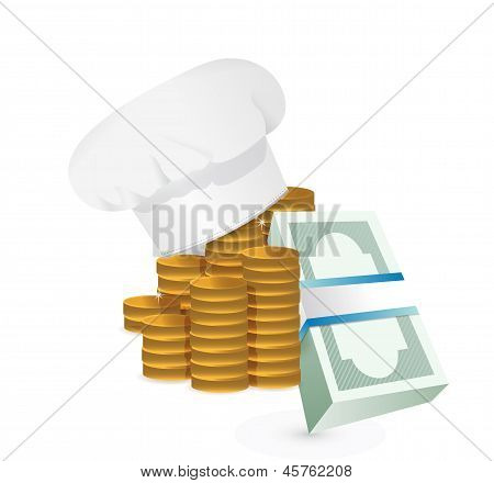 Chef Profits Or Restaurants Cost Concept