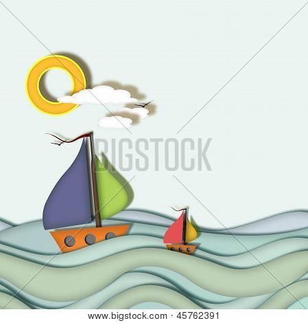 Boats Sailing On Blue Sea