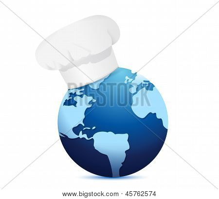 Chef Hat And Globe. International Cuisine Concept