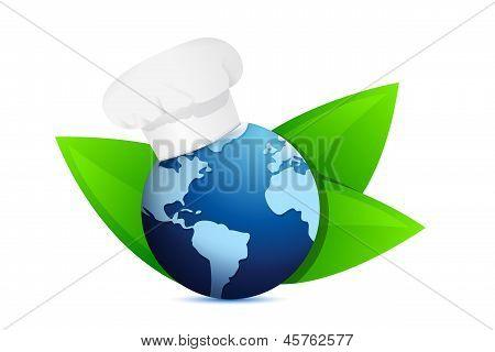 Chef Hat And Eco Globe. International Cuisine
