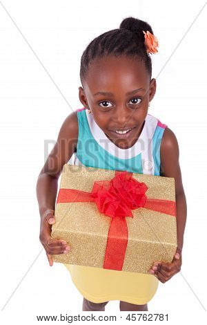 Young African American Little Girl Holding A Gift Box