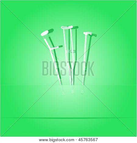 Crutches. Paper sticker as bookmark. Raster illustration.