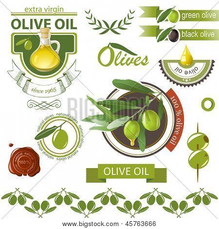 Highly detailed olives emblems set