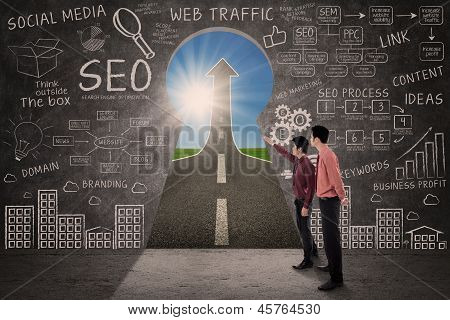 Business partner looking for SEO success concept