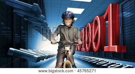 Child smiling on bike in data center with 3d binary code