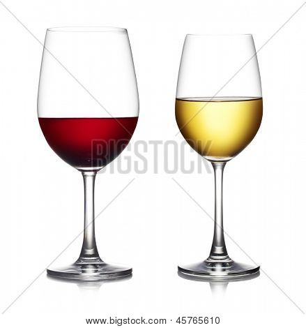 Glass of red wine isolated on a white background. The file includes a clipping path.