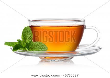 Cup of tea with mint on a white background