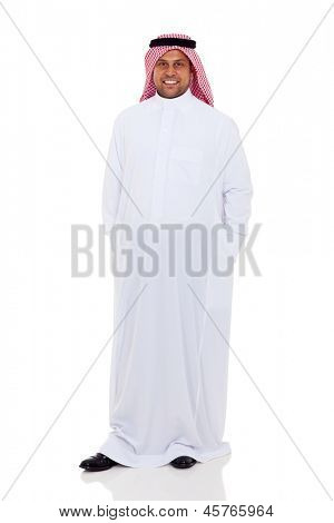 handsome arabic man in thobe standing on white background
