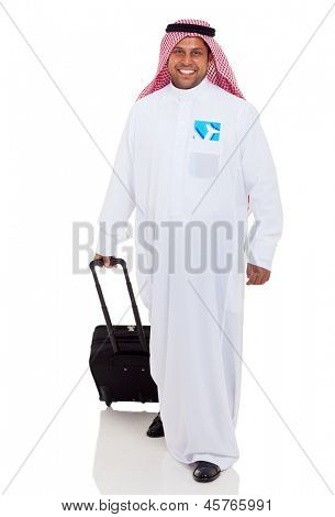 cheerful arabic businessman traveling by air