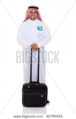 happy male arabian business traveler with luggage and air ticket
