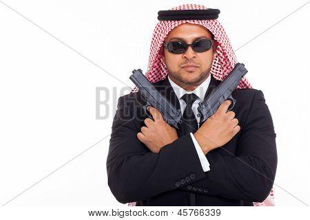 arabian mafia man holding pistols over white background
