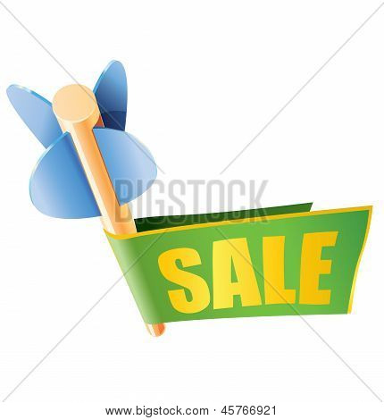 Wooden arrow with bright sale banner and text
