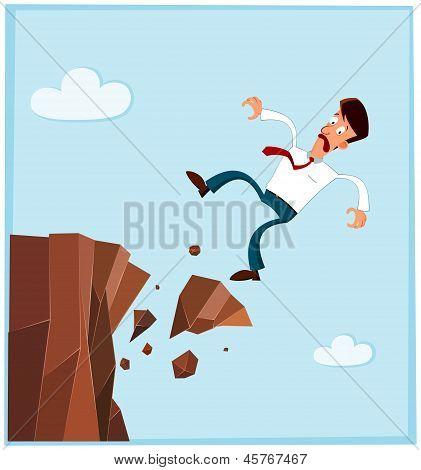 Kaufmann von der Seite der Klippe fallen