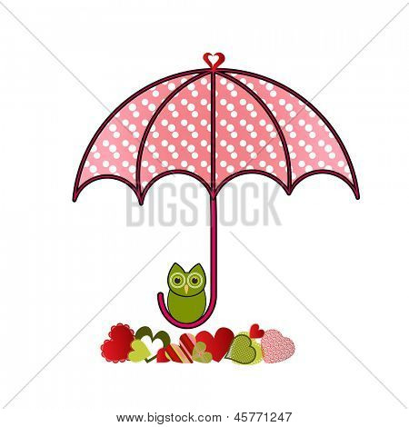 umbrella with own and group of different hearts below