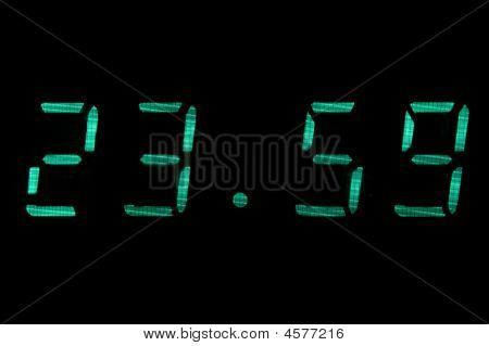 Digital Clock In Green