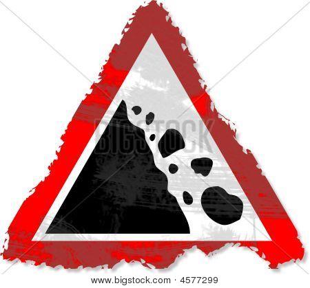Grunge Falling Rocks Sign