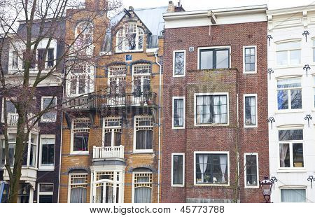 View At Typical Dutch Houses In Amsterdam, The Netherlands