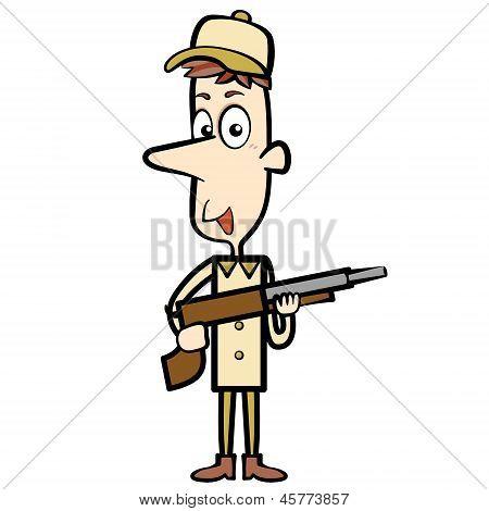 Cartoon Hunter With A Shotgun