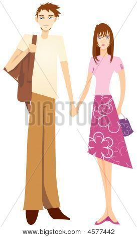 Sweet Couple Holding Hand. Cartoon illustration of a lovely hand bond couple