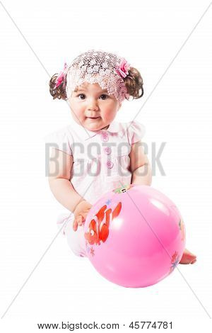 Little Cute Baby-girl  With Ball In Pink Dress Isolated On White Background  Use It For A Child, Par