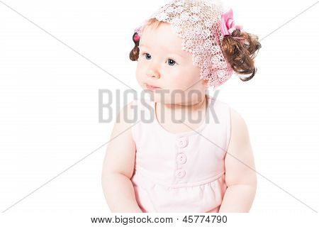 Little Cute Baby-girl With Blue Eyes  In Pink Dress Isolated On White Background  Use It For A Child