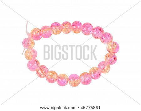 Pink Bracelet Of Glass Beads