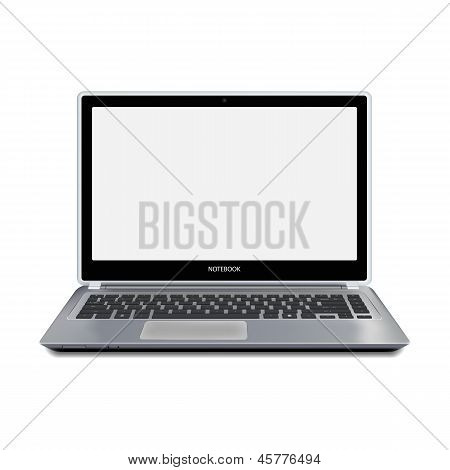 Modern Laptop Computer With Blank Screen