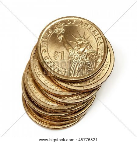 Stack of American one dollar coins, isolated on white background.