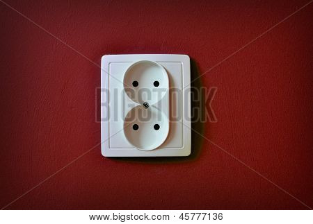 Alone Outlet On Wall Background