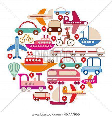Viagens e transporte - rodada Vector