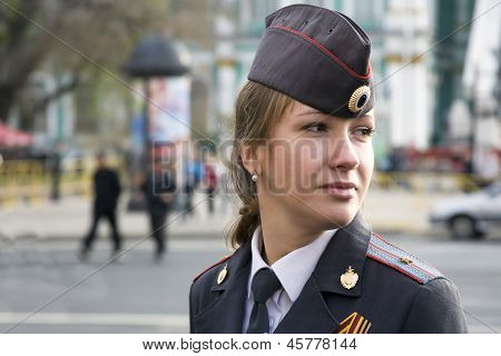 The Girl Police Officer In The City Of St. Petersburg.