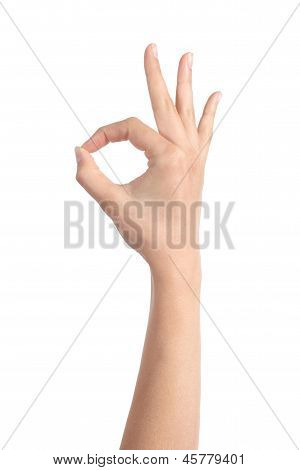 Woman Hand Making Ok Gesture