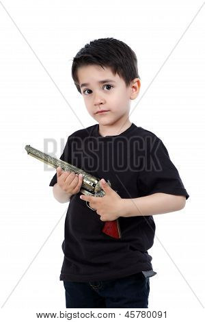 Child Playing With Gun