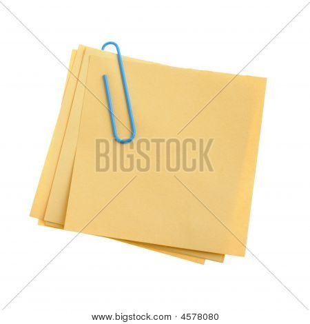 Paper Note With Blue Clinch