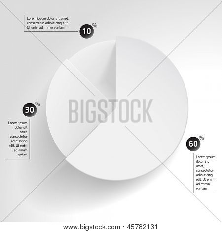 3D business pie chart.  Wheel chart. Blank pie chart design with notes (footnote)