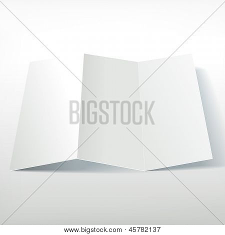 Blank white folding paper leaflet.  Presentation of leaflet design template. Flyer mock up (in situ).
