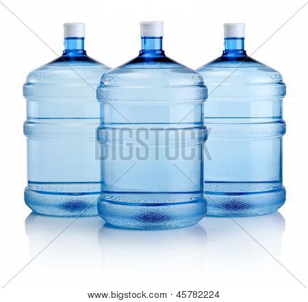Three Big Bottles Of Water Isolated On A White Background
