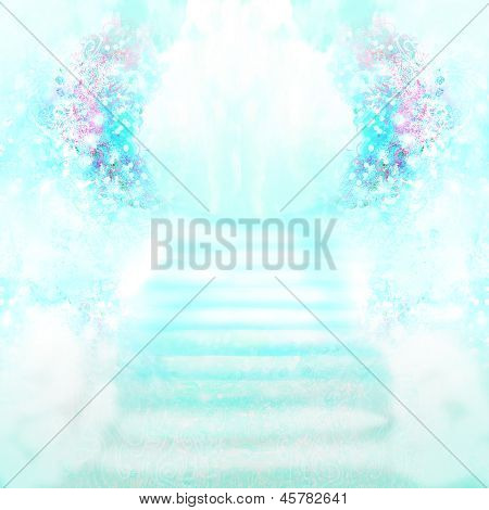 Stairs in Sky on abstract background , raster