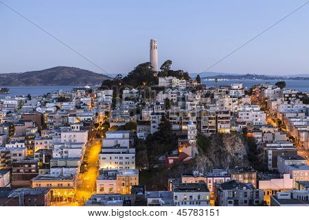 Aerial dusk view of Coit tower in downtown San Francisco, California.