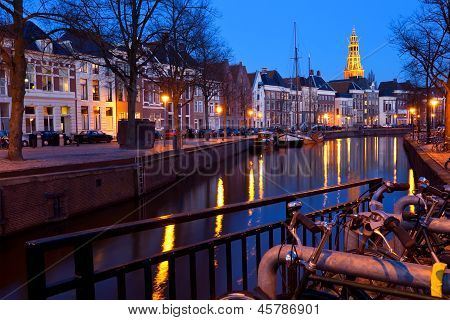 Street Along Canal At Night In Groningen